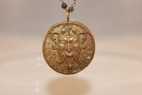 Elementalofferings bronze gargoyle pendant necklace pyrite rosary chain on black deerskin leather aloadofball Gallery