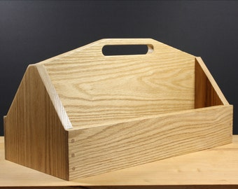 solid oak box, wood tool box, large box, solid wood box, husband gift idea, kitchen decor, kitchen organizer, farmhouse decor, country style