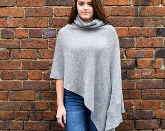 Merino wool poncho with turtleneck, Australian wool poncho - grey