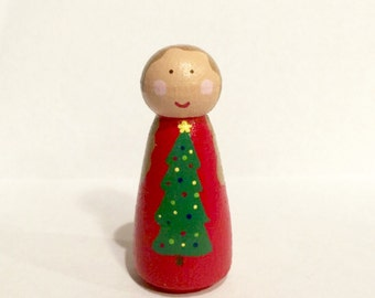 Christmas peg doll - seasonal decor  - holiday toy - dollhouse toy - stocking stuffer - peg people Christmas tree -pretend play - wooden peg