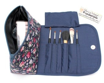 Brilliant Blue Large Floral Makeup Bag with a Brush Holder and Magnetic Button!