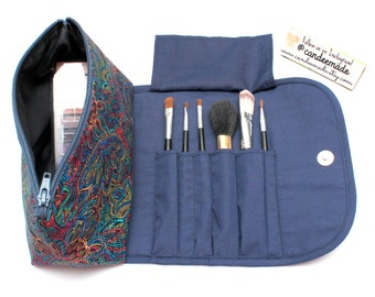 Radiant Rainbow Large Makeup Bag with a Brush Holder and Magnetic Button!