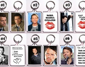 Misha Collins Keychain Key Ring - Many Designs To Choose From Supernatural Castiel