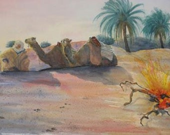 "Original Water color painting ""Camel driver in the Sahara Douz. South of Tunisia""- Free shipping"