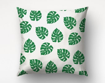 Tropical Leaf Pillow, Nature Art, Home Decoration, Leaves Patterm, Custom Color