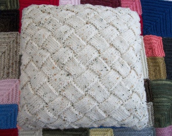 """Entrelac Cushion Cover 16"""" (40.5cm), Cream, Beige Fleck  Hand Knitted, 20% Wool, Basketweave, Textured, Interweave,Pillow,Throw,Fathers Day"""