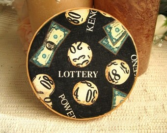 Lottery clay fabric coasters. (2) Absorbent lotto and keno coasters.  Made in USA FREE SHIPPING