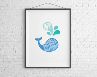 Happy Birthday. Whale Print. Instant Download.