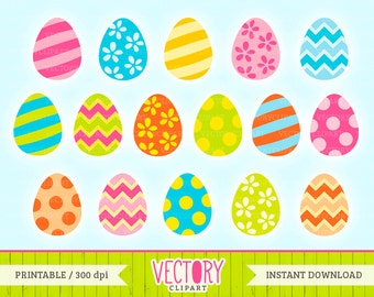 Easter Egg Clipart Set of 16, Painted Easter Egg Clipart, Easter Clipart, Easter Egg Clip Art, Colorful Eggs by VectoryClipart