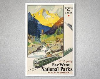 Visit Your Far West National Parks  Vintage Poster - Poster Print, Sticker or Canvas Print