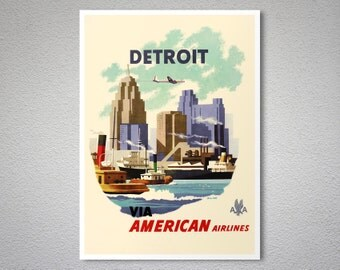 Detroit American Airlines - Travel Poster - Poster Print, Sticker or Canvas Print