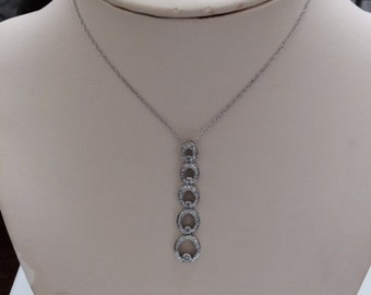 "14k white  gold graduated five oblong diamond pendant with 18"" chain;  4 grams; Length: 2""; D- .14 carat TW; gift for her; all occasion"