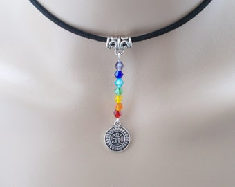 chakra choker om choker chakra jewellery black choker wellbeing jewellery chakra necklace spiritual jewellery gift for her