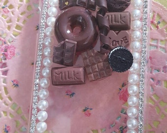 Chocolate lovers phone case - Decoden and Rhinestones available for any phone! HTC, Samsung, iPhone, Blackberry etc