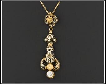 Antique Swiss Enamel & Diamond Necklace | 14k Gold Diamond Necklace | Swiss Enamel Necklace | Antique Pendant Necklace