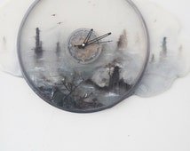 """3d resin  painting:Artwork """"Mirrow in the clock"""" hand paint and seal"""