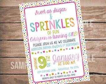 Sprinkles of Fun Birthday Invitation, First Birthday Invitation, Sprinkles First Birthday Party