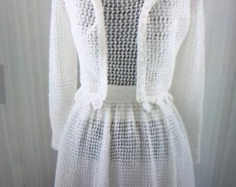 Vintage crocheted wedding dress/summer soirée picnic dress/beach dress