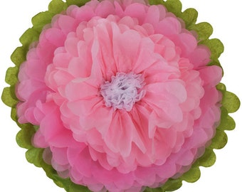 """Tissue Paper Flower 10"""" Baby Pink Carnation Pink White - Item Number:TPF100022 - Just Artifacts - Paper Flower for Parties and Events"""