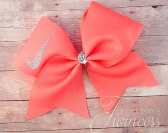 Cheer Bow Coral - gifts for cheerleaders - cheer team - cheerleading - volleyball bow - cheer bows- gifts under 10 - easter basket