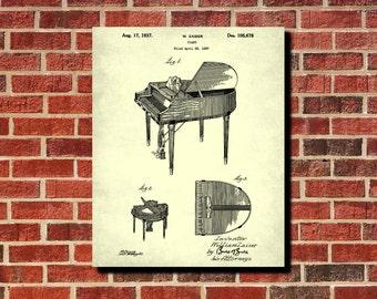 Grand Piano Patent Print Music Room Decor Piano Poster Piano Blueprint Piano Art Musician Gifts