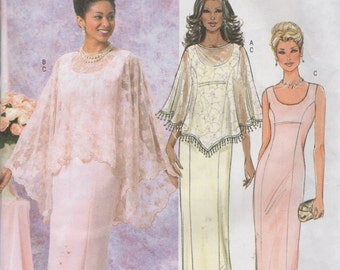 Misses' Caplet and Evening Gown  Dress Sewing Pattern  - Butterick 4391 -  Size 8 10 12 14  Bust 31 1/2, 32 1/2, 34, 36  Unused