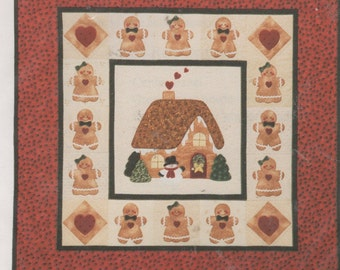 A Gingerbread Christmas Wallhanging and 2 Pillow Quilt Pattern, Uncut
