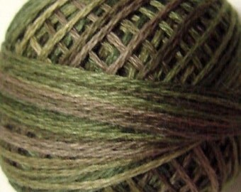 VALDANI Size 12 - P2 Olive Green   Pearl Cotton   Variegated Color   Hand Dyed Thread   109 Yard Cotton Ball