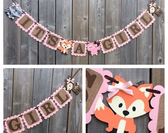 IT'S A GIRL Fox Banner - Woodland baby Shower Banner - Woodland Themed Banner - Shower - Pink Fox banner - Fox Baby shower decorations