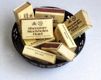 Lot of 8 Vintage 1970s Sheraton Stockholm Hotel Matchboxes