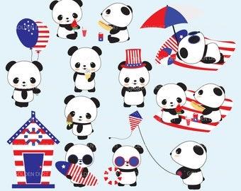 4th of July Panda, Panda Clipart, Kawaii Panda, Kawaii Clipart, Cute Panda Clip Art, Panda Clip Art, Panda Bear Clipart