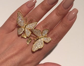 Sterling silver 18k yellow gold plated two finger butterfly ring, statement ring