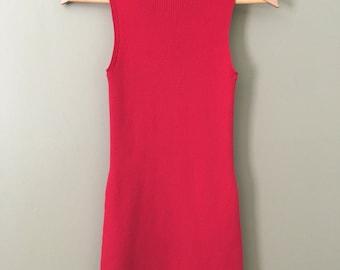Vintage 90's Lipstick Red Ribbed Turtleneck Mini Sleeveless Ruffled Hem Dress by Moda