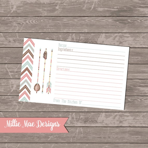 Tribal Chevron and Arrow Recipe Cards Instant Download 3x5 and