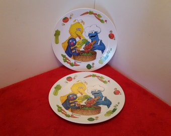 Vintage childs plate sesame sreet, Muppets,  big bird, grover, and cookie monster plate