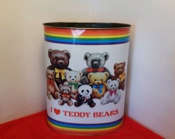 Vintage metal trash can, cheinco, 1984 cheinco industries inc. I love teddy bears / nursery trash can