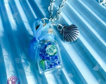 Sea Inspired Bottle Charm Necklace