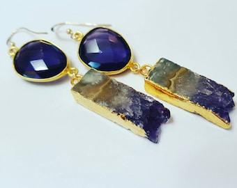 Amethyst and Stalactite Earrings