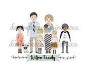 """An 11""""x14"""" print of Semi-Custom Cartoon Family"""