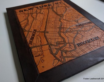Medium Map, Custom Carved Leather Map 8.5x11