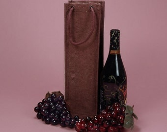 Jute Rope Handle Wine bag wine tote, hostess gift, holiday gift, house warming gift, wedding gift, monogramming available upon request