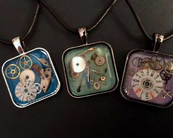 watch parts necklace pendants- square bits of time