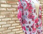 Kimono Cardigan, White Pink Kimono Jacket, Gift for Her, Wedding Kimono, Hippy Boho Kimono, Beach Coverup, Summer Outift, Maternity Top