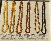 Baltic Amber Teething Necklace Polished or Raw 12.5 inch Drooling, Colic, Reflux