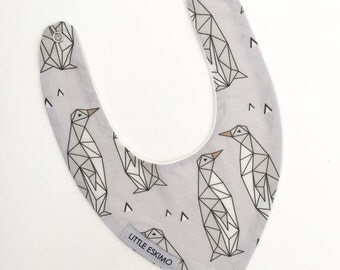 SALE - Baby Bib, Toddler Bib, Bibs - Geo Penguins in Grey