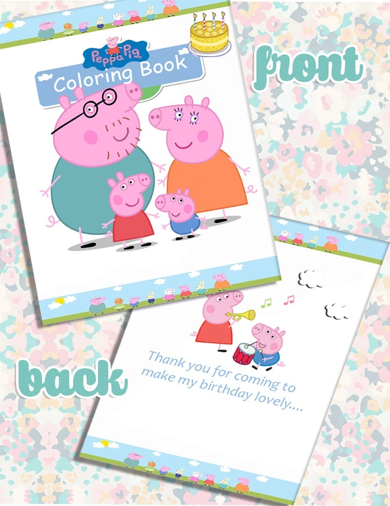 peppa pig party favor mini coloring book instant download