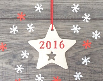 2016 Christmas Star Decoration - Ceramic Red 2016 Star Christmas Tree Ornament