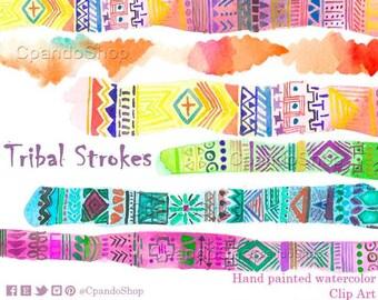 "Tribal border clipart: ""TRIBAL CLIP ART"" Watercolor Tribal Border Tribal Clipart Border Clipart Stroke aztec borders Tribal graphics"