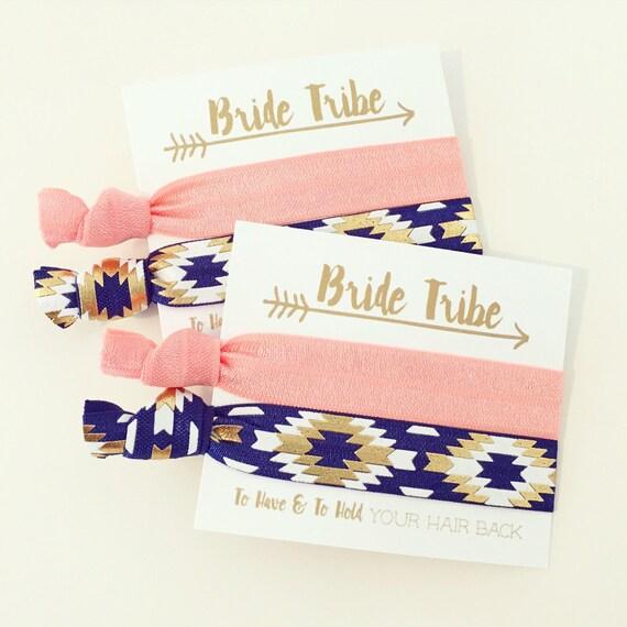 Coral, Navy Blue + Gold Bride Tribe Hair Tie Favors | Bridesmaid Gift Hair Ties, Boho Bachelorette Party Hair Tie Favors, Tribal Aztec Arrow