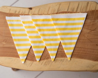 Yellow and White Striped 4 Piece Flag Banner Set for Customizable Banner {4 Flags Only}